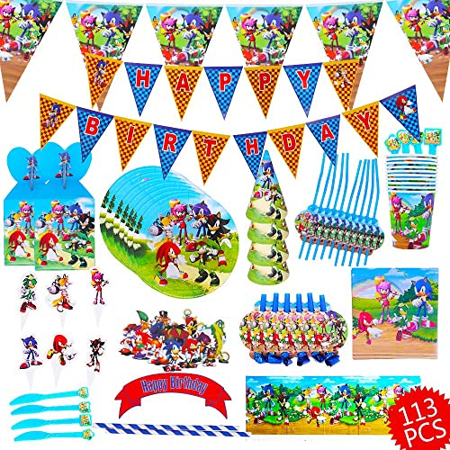 113 Pcs Sonic The Hedgehog Party Supplies Sonic The Hedgehog Birthday Decorations Sonic The Hedgehog Plates Banner Plates Cake Topper Party Supplies Kids Birthday Buy Products Online With Ubuy Kuwait In Affordable Prices B088th1hz9