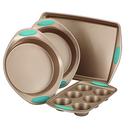 Rachael Ray Cucina Nonstick Bakeware 5-Piece Set Latte Brown with Agave Blue Handle Grips 46179