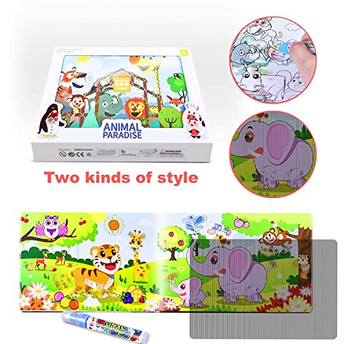 Markbetter Reusable Water Reveal Animal Book with Vivid Manual Animation Water Coloring Activity Pads Aqua Drawing Set with Gift Box Travel Activity Set