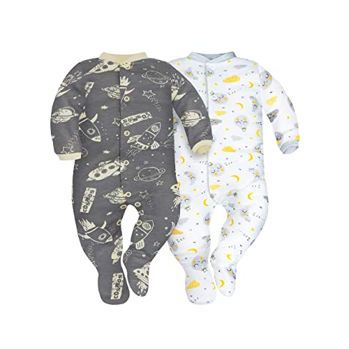 Sizes 0-9 Months SIBINULO Baby Boys Baby Girls Sleepsuit with Feet Mix Pack of 2