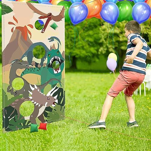 Dinosaur Party Supplies Birthday Decorations Dinosaur Party Supplies Dinosaur Toss Games with 3 Green Nylon Bean Bags Fun Bean Bag Game Sets for Teenagers Dinosaur Party Favors Dinosaur Party