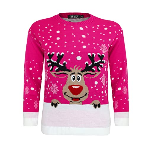 Kids Christmas Jumper Xmas Girls Boys Children Knitted Top Sweater Novelty 3-12