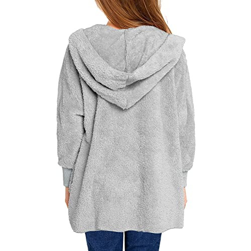 ReachMe Girls Open Front Hooded Cardigan Coat with Pockets Fleece Sherpa Jacket 4-13 Years