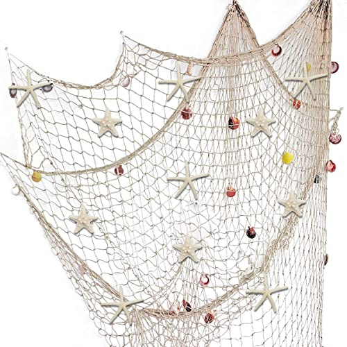 Buy Fangoo 79 X 59 Inch Nature Fish Net Wall Decoration With Sea Shells And 10 Pcs Natural Starfish Mediterranean Style Decor Wall Decoration Online In Kuwait B07xpv5ccz