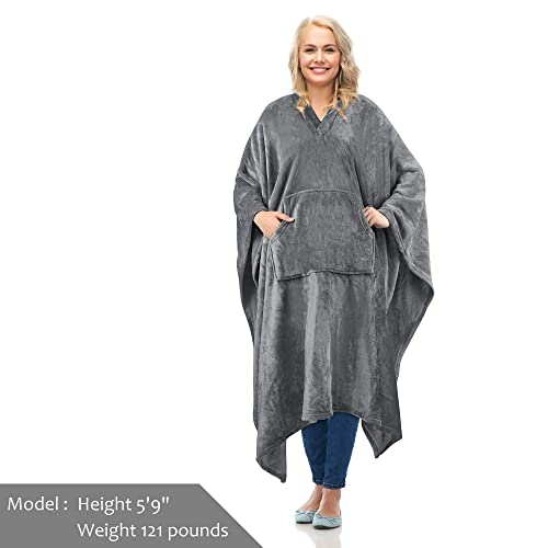 Fleece Wearable Blanket Poncho for  Women Men,Wrap Blanket Cape with Pocket War