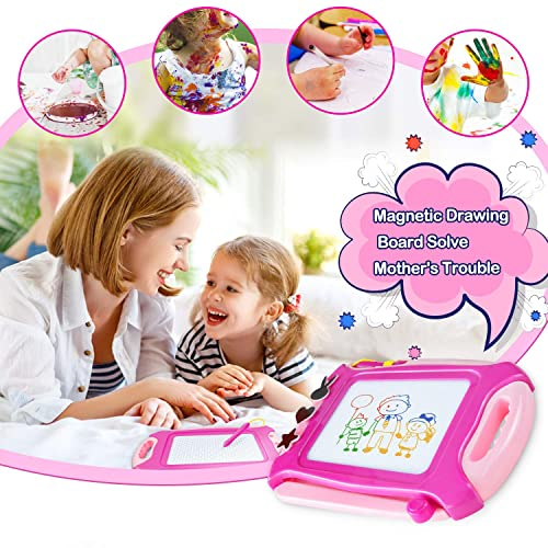 Pink Erasable Scribble Board Cute Doodle Writing Pad Learning Toys for 1 2 3 4 5 Years Old Kids 31.5x22.5 cm Travel Size Xndryan Magnetic Drawing Board Small Birthday Gifts for Boys Girls