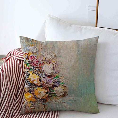 Buy Throw Pillow Covers Light Blue Floral Bouquet Flowers Impressionist Green Abstract Bloom Blooming Design Cushion Square Case Cotton Linen For Winter Home Decor 18 X 18 Online In Kuwait B07y2zzfct