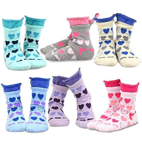 TeeHee Kids Girls Cotton Roll Top Crew Socks 6 Pair Pack Dots Naartjie