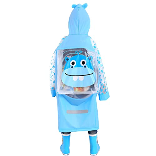 Spring Fever Kids Baby Girls Boys Toddler Hooded Lightweight Cute School Backpack Rain Ponchos Jackets Raincoats