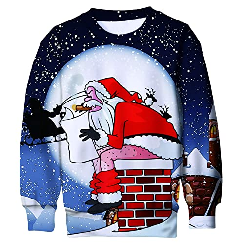 UK Kids Boys Girls Ugly Christmas 3D Print Sweatshirt Pullover Jumper Xmas Tops