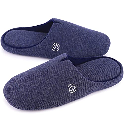 0080af921945f Men's Comfort Cotton Knit Memory Foam Slippers Light Weight Terry Cloth  House Shoes w/Anti-Skid Rubber Sole