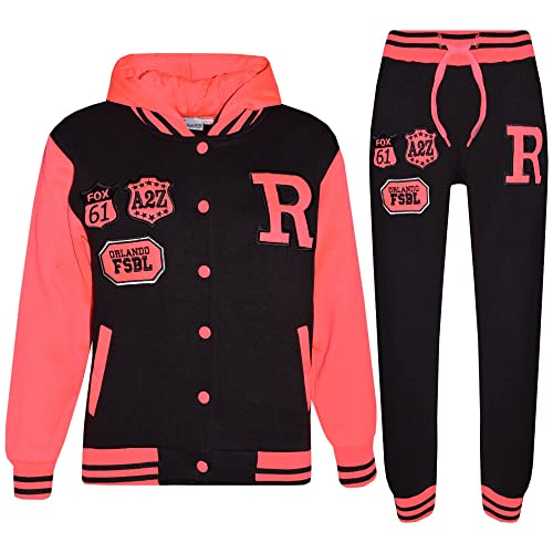 NABER Kids Girls Casual Tracksuits Floral Sleeve Zipper Jacket /& Sports Trousers 3-12 Years