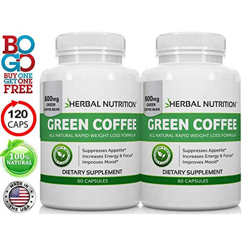 1 Rated Pure Green Coffee Extract Two Bottle Pack 120 Capsules