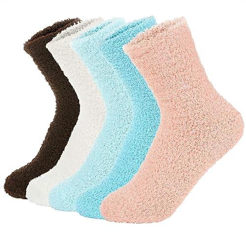 Eedor Womens Fuzzy Socks Warm Slipper Fluffy Soft Microfiber Cozy Winter