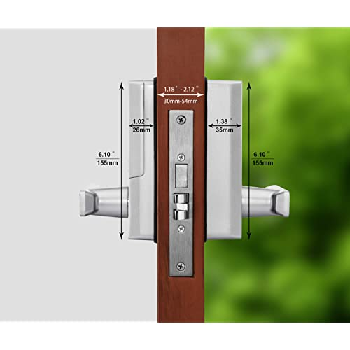 Office Biometric Keyless Lock Automatic Locking Security Entry Home with Your Smartphone for Bedroom ZKTeco PL10DB Fingerprint Double Cylinder Deadbolt Smart Door Lock with Bluetooth