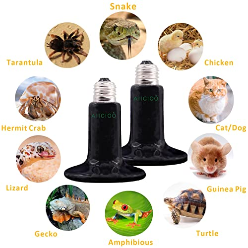 Sparkzoo Carbon Fiber Far Infrared Heating Lamp Light Bulb 75W Infrared Heat Emitter for Reptiles Hermit Crabs Pet Brooders Coops Chicks Terrariums