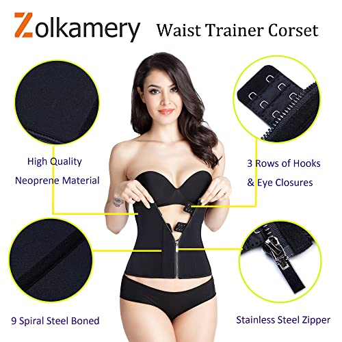 Women Neoprene Trimmer Sport Workout Waist Slimming Corset Body Shaper Hook/& Zip