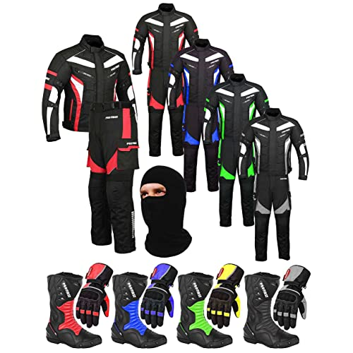 Boots Mr.Pro A Full Set of Waterproof Motorbike Motorcycle Moped 2 Piece Suit in Cordura Fabric and CE Approved Armour Jacket Racing Touring Events Trouser Balaclava Gloves