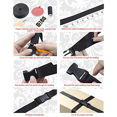 REKYO 1.5 Inch Wide 10 Yards Black Nylon Heavy Webbing Strap and 12 PCS Flat for