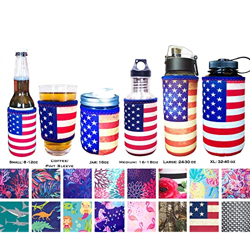 Koverz Neoprene 24-30 oz Water Bottle Insulator Cooler Coolie American Flag