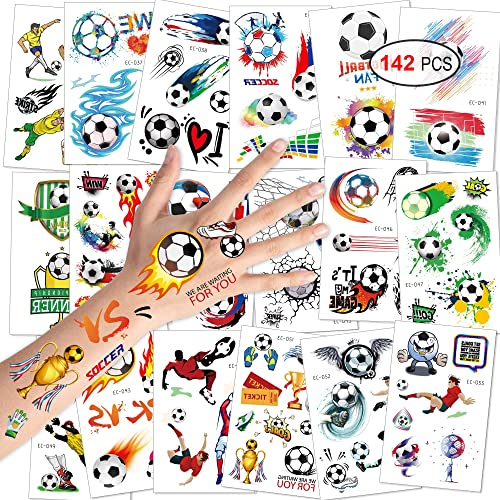 12-288 boys FOOTBALL TATTOOS party bag toy filler reward fun children kids