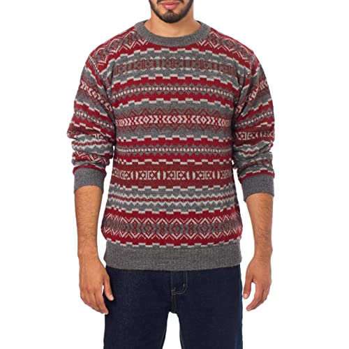 ec94f2d004d28d NOVICA Red and Gray Men's Knitted 100% Alpaca Wool Pullover Sweater, Ice  Fire'