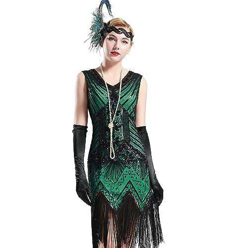 UK Women 1920s V Neck Flapper Dress Beaded Gatsby Fringed Great Popular Costume