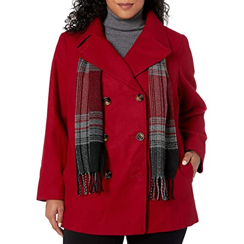 London Fog Womens Plus Size Raglan Button Front Wool Coat with Scarf