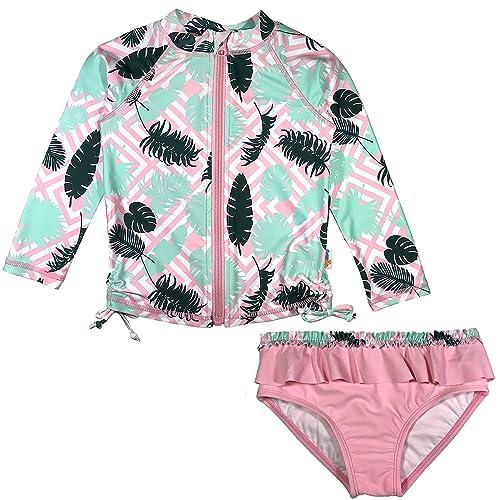 Tankini /& Shorts SwimZip Girl 3 Piece Long Sleeve Rash Guard Multiple Colors