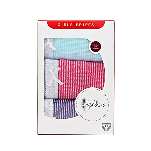 Feathers Girls Multi Stripe Tagless Briefs Underwear Super Soft Panties 3-Pack