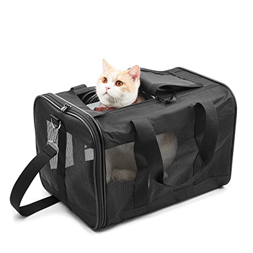 MASTERTOP Expandable Pet Carrier for Puppy Dog/&Cat /Airline Approved Collapsible Portable Kitties Puppies Travel Carrier Bag with Fleece and Pet Bowl