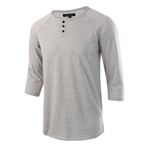 d7d7d626 HETHCODE Men's Casual Raglan Fit Soft Baseball 3/4 Sleeve Henley T-Shirts  Tee