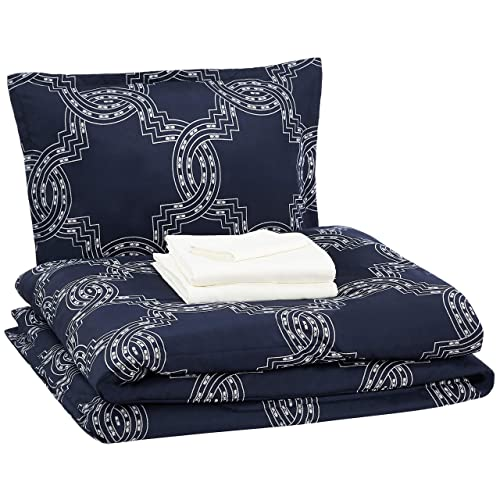 5pc Twin Size Microfiber Nautical Comforter set Navy Blue and White Striped