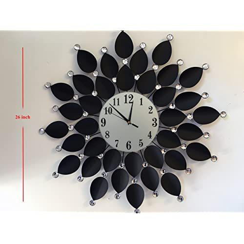 Buy Home Décor Large Wall Clock Black Leaf Metal Decorative Starburst Wall Accent Silent Clock 26 White Glass Dial For Living Room Bedroom Kitchen Online In Kuwait B071f97bc4
