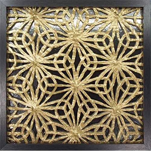 Buy 45min 16 Inch Handmade Paper Art Shadow Box 3d Abstract Framed Sculpture Wall Art Decor Contemporary Silver Gold Flower Space Online In Kuwait B07mv7btym