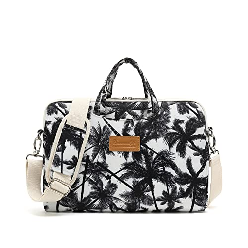 Canvaslife Black Four Petals Style Pattern Waterproof Laptop Shoulder Messenger Bag Laptop Computer Briefcases with Rebound Bubble Protection for 15 inch and 15.6 inch Laptop