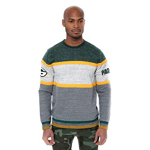Ultra Game NFL Mens Fleece Sweatshirt Long Sleeve Shirt Block Stripe