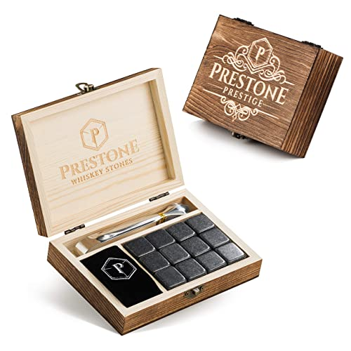 12 Stones 12 Polished Granite Reusable Ice Cubes Complete Luxury Handcrafted Set Prestone Prestige Premium Whiskey Stones Gift Set Velvet Bag and Tongs for Men Engraved Wooden Box Gift Set