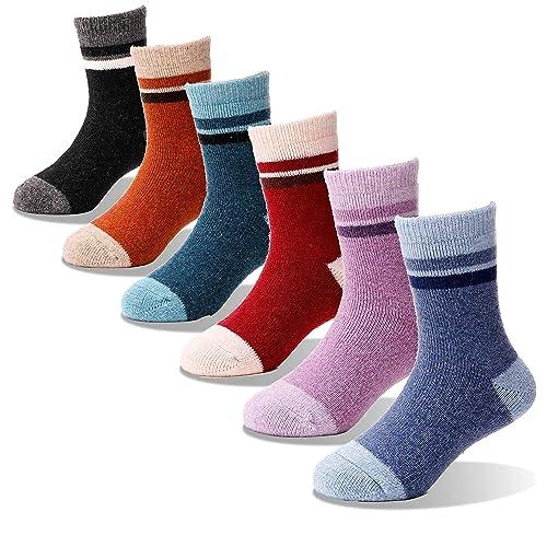 Kids Wool Socks 6 Pairs Girls Toddler Boys Thermal Warm Thick Winter Cabin Boot Snow Child Socks