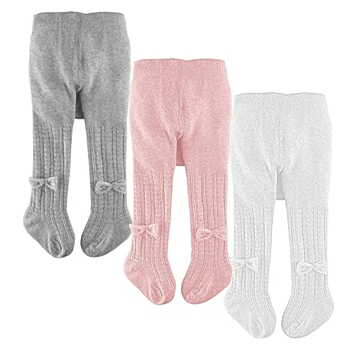 Baby Girls Leggings-Toddlers Leotards Cable Knit Seamless Tights Stockings 2 Pack Infants Pantyhose Cotton Footed Pants