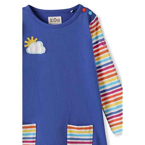 Patch Pockets Long Sleeve 0-4 Years Blue//Rainbow Stripes kIDio Organic Cotton Baby Infant Toddler Girl Dress Applique