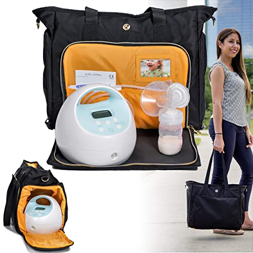 Despert Breast Pump Bag Insulated Lunch Bag Large Capacity Upper Layer Pump bag and lower Layer Lunch bag for Working Mother,Fits Most Sizes Breast Pumps,Picnic Handbag for Travel