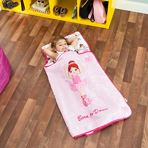 Soft Daycare White with Owl Design by Bambino Bliss Children Sleeping Bag Easy Clean Toddler Nap Pad for Preschool Lightweight Mats Kids Nap Mat with Removable Pillow Kindergarten
