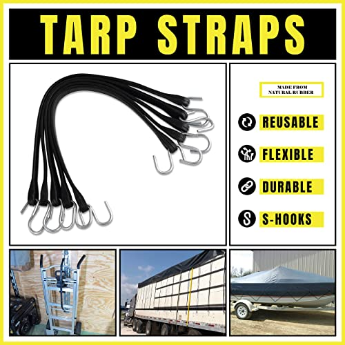 23 max Stretch 15 10 Pack of 15 Heavy-Duty Natural Rubber Bungee Cords with Hooks kitchentoolz Rubber Tarp Straps