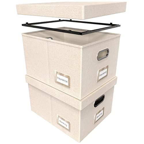 File Boxes for Hanging Files Neutral Gray Linen Hanging File