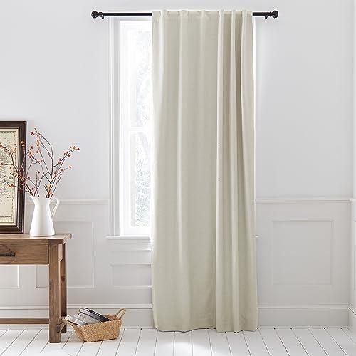 52 x 96 Rivet Blackout Modern Geometric Linen Cotton Curtain Rod Pocket Grey Linen One Panel