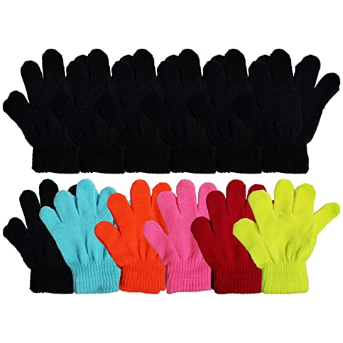 3 Pair Women Ladies Girls Warmed Magic Gloves Stretchable Black One Size Fit All