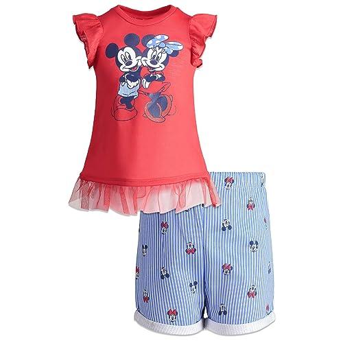 Disney Frozen Elsa Toddler Girls Ruffle Tunic Top /& Twill Shorts Clothing Set