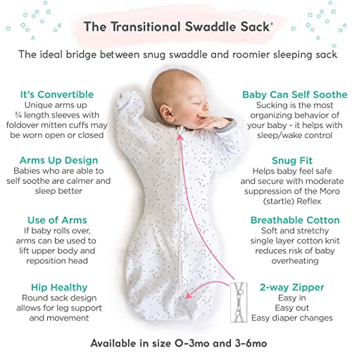 Amazing Baby Swaddle Sack w Arms Up Mitten Cuffs//Tiny Bows//Pink 3-6 Months