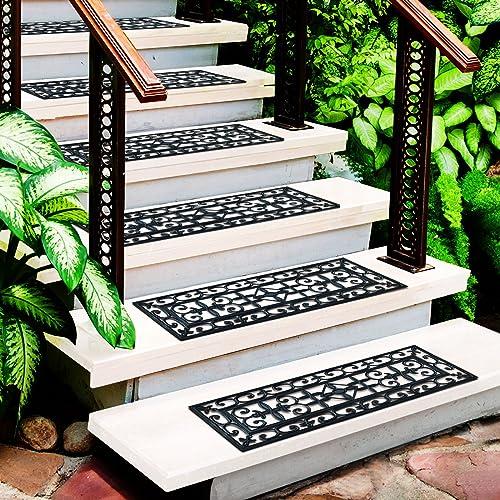 Set of 5 Black Water Resistant casa pura/® New Delhi Rubber Stair Treads 25x75cm Non-Slip
